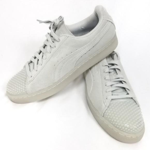 b6bfee82 PUMA Grey Studded Suede Jelly Sneakers Sz 9 NEW